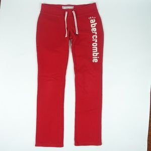 ABERCROMBIE FITCH Kids LOGO  SWEATPANTS Red Large